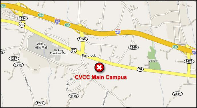 Map showing location of the CVCC Main Campus