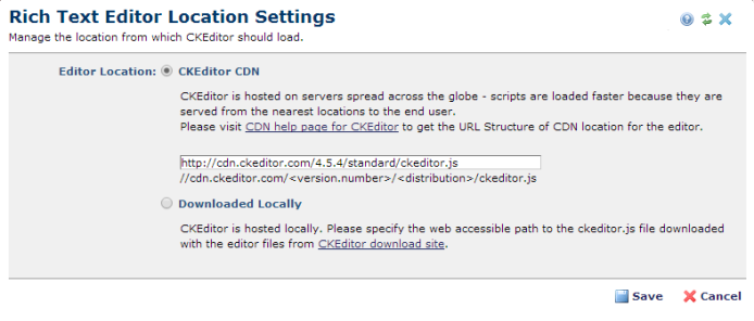 Rich Text Editor Location Settings