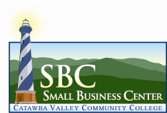 SBC Small Business Center Catawba Valley Community College logo with lighthouse