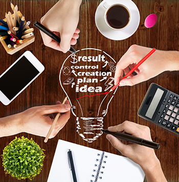$result, control, creation, plan, idea written inside of a cartoon light bulb