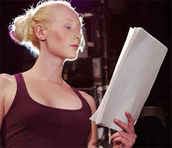 Actress reading part of script