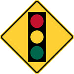 stop lights ahead warning sign