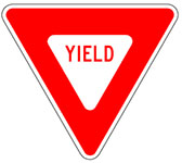 Red and white Yield Sign