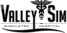 ValleySim Simulated Hospital logo with caducus