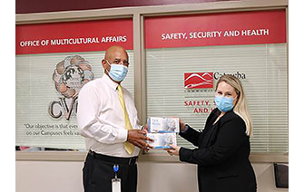 Steve Hunt Accepting Mask Donation